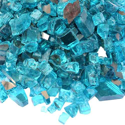 4. Onlyfire Fire Glass for Natural or Propane Fire Pit, Fireplace, or Gas Log Sets, 10-Pound, 1/2-Inch, Caribbean Blue Reflective