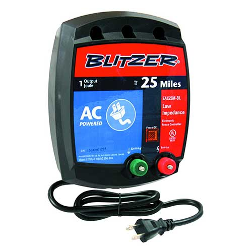 8. Blitzer EAC25M-BL 1.0-Joule, Low-Impedance, 110-Volt AC Electric Fence Charger