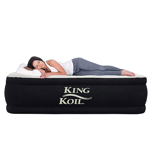2. King Koil QUEEN SIZE Luxury Raised Air Mattress - Best Inflatable Airbed Quilt Top & 1-year GUARANTEE