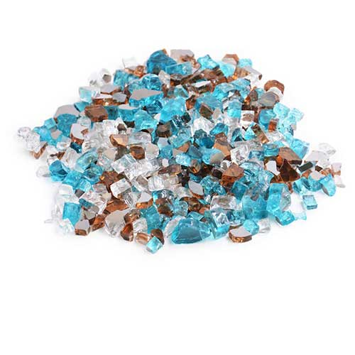 9. Skyflame 10-Pound Blended Fire Glass for Fire Pit Fireplace Landscaping, 1/2 inch Caribbean Blue Platinum Copper, Reflective