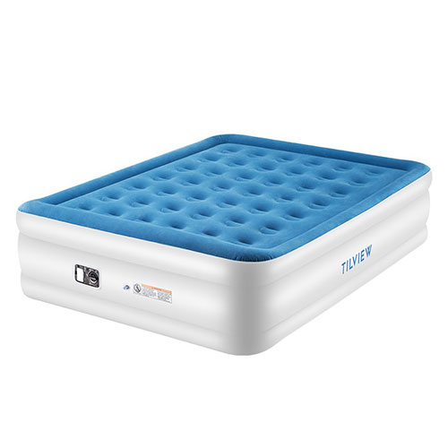 6. TILVIEW Queen Size Air Mattress, Blow Up Elevated Raised Air Bed Inflatable Airbed 80 x 60 x 22 Inches, Blue, 2-Year Guarantee