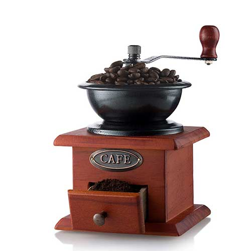 6. Gourmia GCG9310 Manual Coffee Grinder Artisanal Hand Crank Coffee Mill With Grind Settings & Catch Drawer 11.5 x 11.5 x 17.5 cm