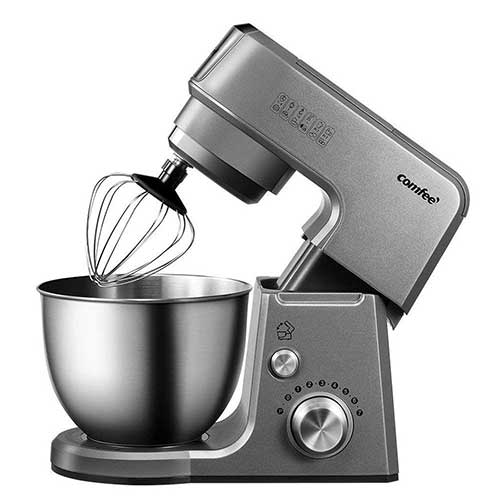 BEST STAND MIXERS UNDER 100 9. Comfee 2.6Qt Die Cast 7-in-1 Multi Function Tilt-Head Stand Mixer with SUS Mixing Bowl, Whisk, Hook, Beater, Splash Guard.4 Outlets, 7 Speeds & Pulse, 15 Minutes Timer Planetary Mixer (Grey)
