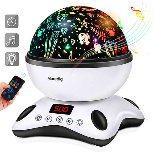 Best Baby Star projectors 10. Moredig Night Light Projector Remote Control and Timer Design Projection lamp, Built-in 12 Light Songs 360 Degree