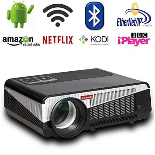 10. Gzunelic 4500 lumens Android Wifi 1080p Video Projector LCD LED Full HD Theater Projector