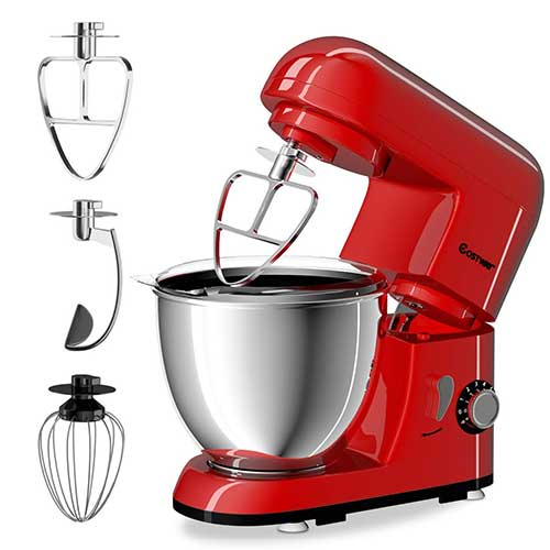 BEST STAND MIXERS UNDER 100 3. Stand Mixer, 600W Tilt-Head Kitchen Electric Food Mixer with 6-Speed Control, 5-Quart Stainless Steel Bowl, Dough Hook, Whisk, Beater, Splash Guard (red)