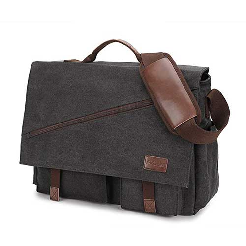 "17/"" Leather Vintage Messenger Shoulder Men Satchel Laptop Sleeve Briefcase Bag"