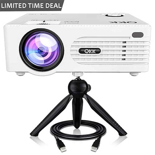 10. QKK [2019 Upgrade] Mini Projector -Full HD LED Projector 1080P Supported, 50,000 Hour Lamp Life with 170