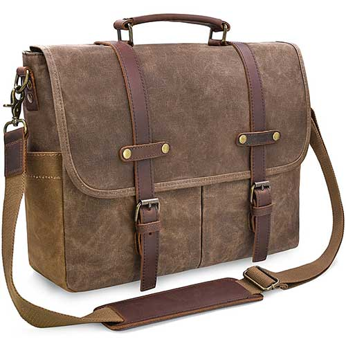 1. Mens Messenger Bag 15.6 Inch Waterproof Vintage Genuine Leather Waxed Canvas Briefcase, Brown by NEWHEY