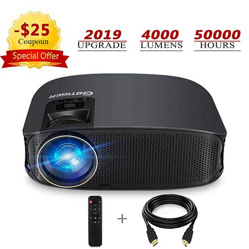 7. HD Projector, GBTIGER 4000 Lumens LED Video Projector, Full HD 1080p Support, 200