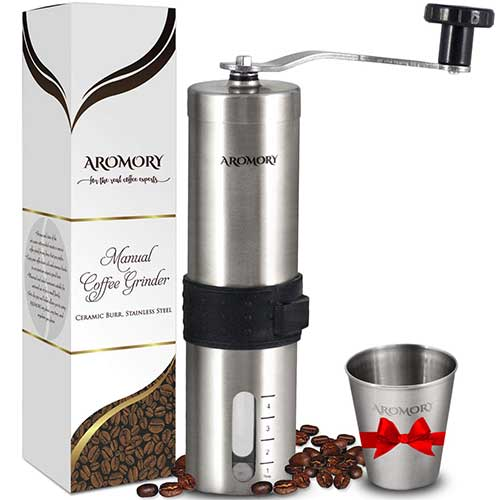8. Manual Coffee Bean Grinder, Hand Held Conical Ceramic Burr Mill by AROMORY