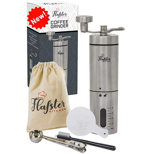 4. Manual Coffee Grinder- Hand Conical Coffee Bean Grinder With Ceramic Mechanism by Flafster Kitchen