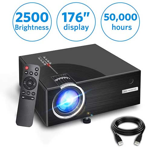 8. 2019 Mini Projector, Full HD 1080P and 176'' Display Supported, with 50,000 Hrs LED Lamp Life, by Aoxun