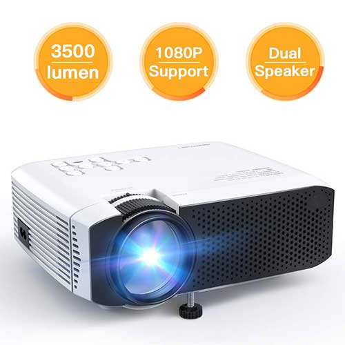 6. Projector APEMAN Video Mini Portable Projector 3500 Lumen with Dual Built-in Speakers 45000 Hours LED Life for Home Theater Entertainment