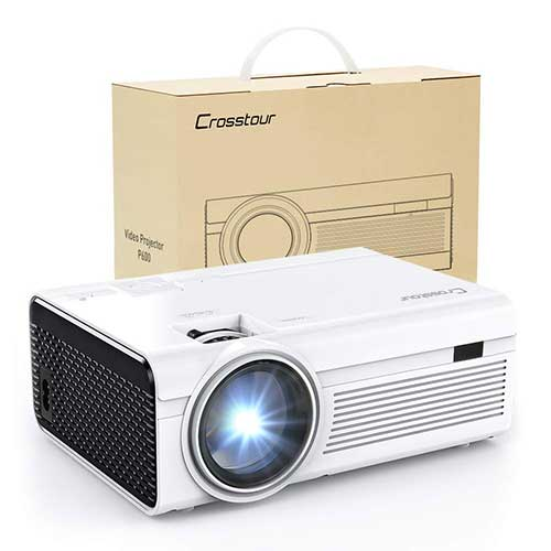 9. Projector, Mini LED Video Projector 1080P Supported, Crosstour HD Portable Projector with HDMI and AV Cable