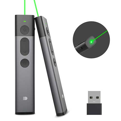 BEST GREEN LASER POINTERS FOR PRESENTATION 2. Doosl Upgraded Presentation Remote Clicker Green Light, Metal Powerpoint Clicker 400mAH Rechargeable Hyperlink PPT Office Wireless Presenter Remote for Mac Laptop