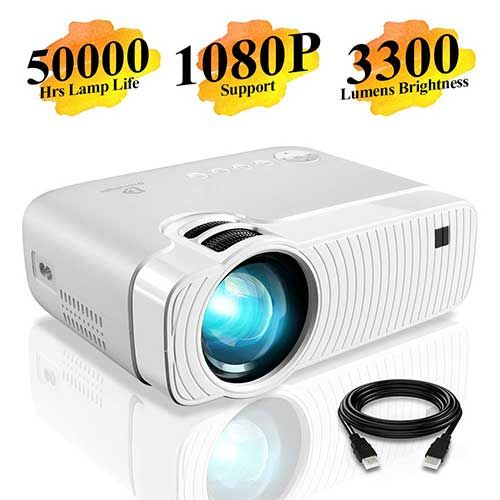 3. DracoLight 3300 Lumens Portable Mini Projector, Compatible with USB/HD/SD/AV/VGA for Home Theater (White) GC333
