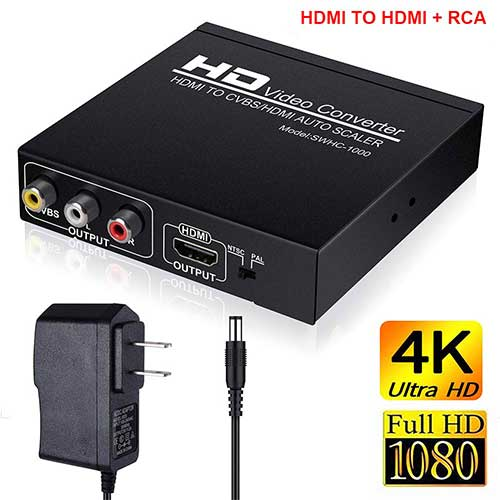 Best Hdmi to Rca Converters 5. HDMI to RCA and HDMI Adapter Converter, HDMI to HDMI+3RCA CVBS AV Composite Video Audio Adapter by AOKEN