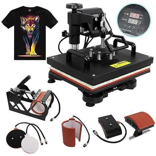 1. F2C Pro 5 in 1 Combo Heat Press Machine T-Shirt Hat Cap Mug Plate Digital Transfer Sublimation Machine New Black (5 in 1 Swing Away)