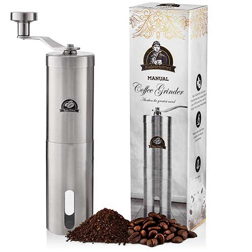 5. Premium Portable Manual Coffee Grinder by KudosHolmes- Adjustable Grinding Size with Professional Precision