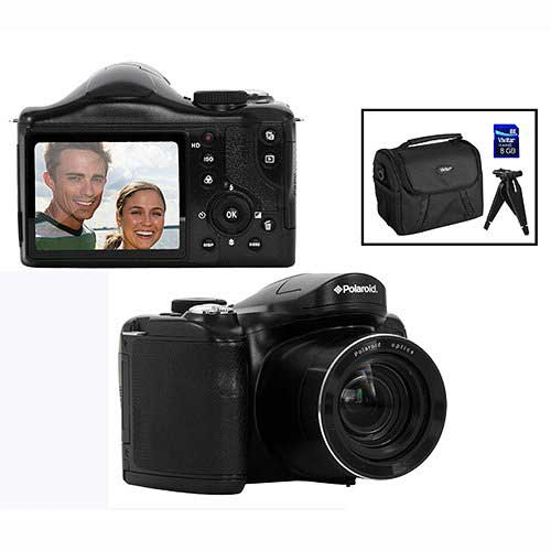 Best Bridge Cameras Under $200 10. Polaroid 18MP Bridge Camera w/ 8GB SD Card Case and Tripod