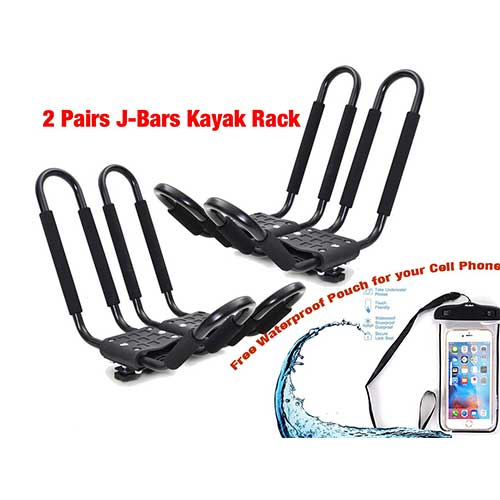 Best Kayak Carriers for Car 10. Egreaten Universal Kayak Rack Holder J Bar, 2 pairs-Bar HD Kayak Rack Carrier Canoe Boat Surf Ski Roof Top Mount Car SUV Crossbar
