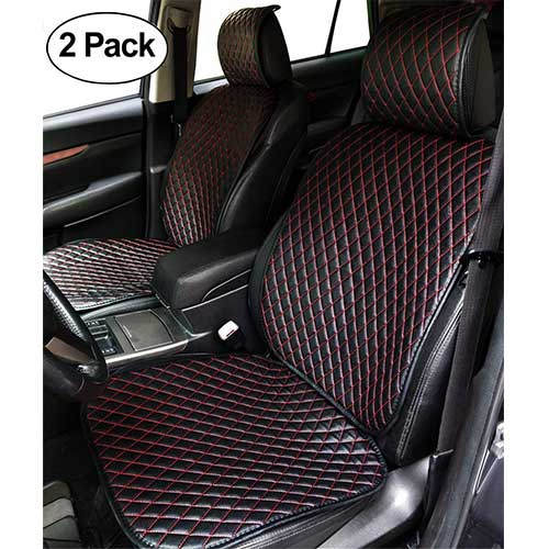 Best Car Seat Covers for Leather Seats 4. Car Seat Cushion, 2 PCS Universal Four Seasons PU Leather Car Interior Seat Cover