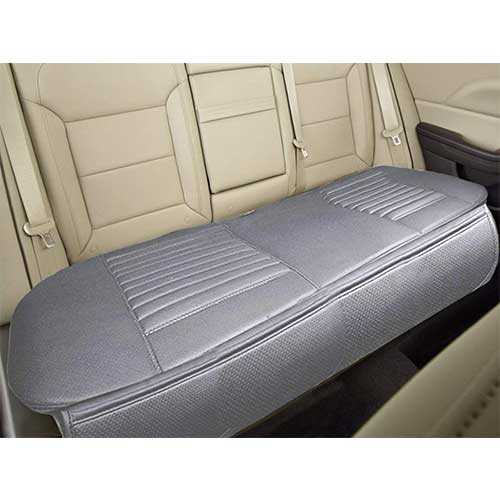 "Best Car Seat Covers for Leather Seats 9. Nonslip Rear Car Seat Cover Breathable Cushion Pad Mat for Vehicle with PU Leather (Gray- Gray Row 58.3"" x 18.9"")"