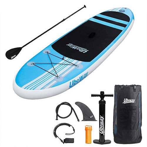 Best Paddle Boards for Yoga 6. UBOWAY Inflatable Stand Up Paddle Board 6'' Thick with Adjustable Paddle, Backpack, Pump, Elastic Rope, Fin, Repair Kit