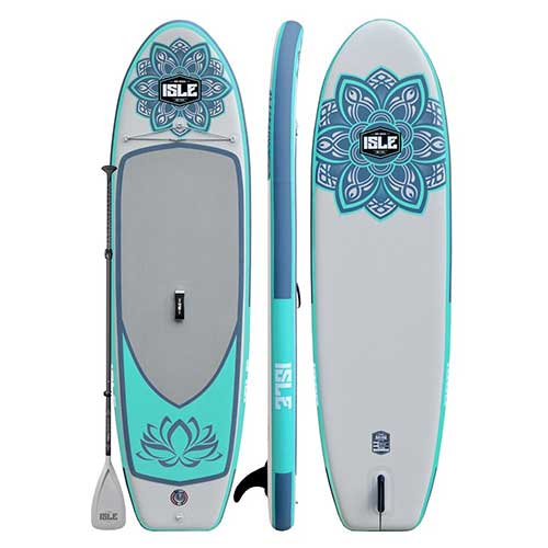 Best Paddle Boards for Yoga 2. ISLE 10' Airtech Inflatable Yoga Stand Up Paddle Board (6
