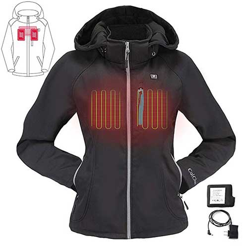 Best Women's Heated Jacket 9. COLCHAM Heated Jacket for Women with Detachable Hood and Battery Pack Waterproof and Windproof
