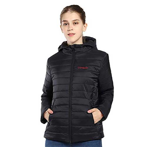 Best Women's Heated Jacket 4. CONQUECO Women's Heated Jacket Slim Fit Light Weight Down Jacket with Battery Pack