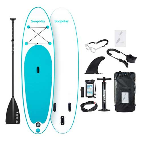 Best Paddle Boards for Yoga 10. SOOPOTAY Inflatable Stand Up Paddle Board, Inflatable SUP Board 10' x 32'' x 6'', iSUP Board Package