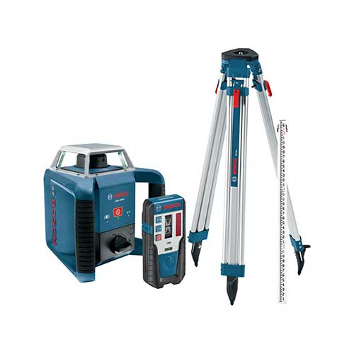 Best Laser Levels for Builders 5. Bosch Exterior Self-Leveling Rotary Laser Kit with Receiver, Tri-Pod, Grade Rod, Case