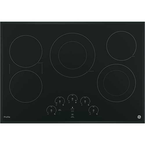 Best 30 inch Electric Cooktops With Downdraft 5. GE PP9030DJBB 30 Inch Smoothtop Electric Cooktop with 5 Radiant, Left-Side Bridge SyncBurners
