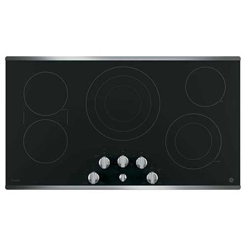 Best 30 inch Electric Cooktops With Downdraft 4. GE PP7036SJSS 36 Inch Smoothtop Electric Cooktop with 5 Radiant Elements, Sync, Versatile Burners, ADA Compliant Fits Guarantee