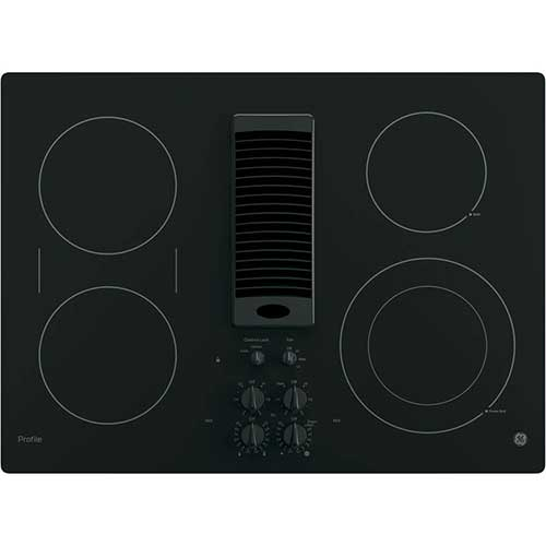 Bridge Element and GE PP9830TJWW 30 Inch Smoothtop Electric Cooktop with 4 Burners 9//6 Inch Power Boil 3-Speed Downdraft Exhaust System
