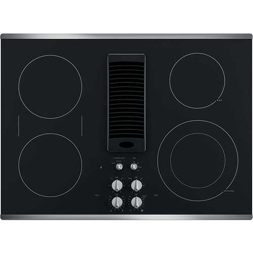 Best 30 inch Electric Cooktops With Downdraft 3. GE PP9830SJSS 30 Inch Smoothtop Electric Cooktop with 4 Burners, 3-Speed Downdraft Exhaust System, 9