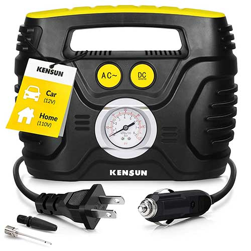 Best Home Air Compressors 2. Kensun Portable Air Compressor Pump for Car 12V DC and Home 110V AC Swift Performance Tire Inflator 120 PSI