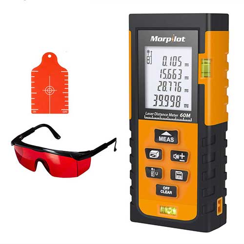 Best Laser Tape Measure 9. Morpilot HM60 Laser Tape Laser Measure, 196ft Laser Tape Measure with Target Plate & Enhancing Glasses