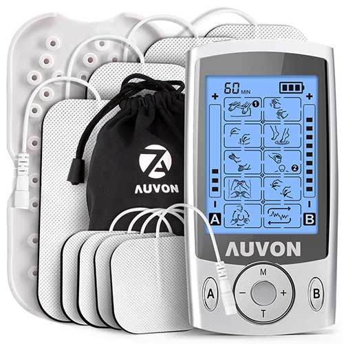 2. AUVON Dual Channel TENS Unit Muscle Stimulator Machine with 20 Modes, 2