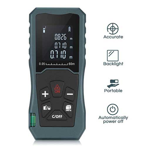 Best Laser Tape Measure 7. Digital Laser Distance Meter 197FT/ 60M, InLife Backlit LCD Laser Measure