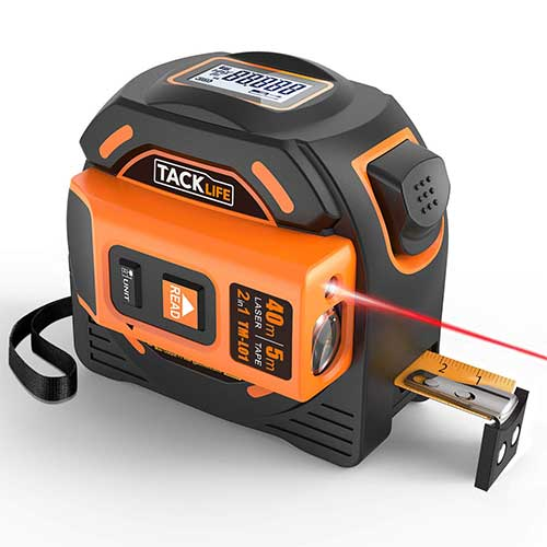 Best Laser Tape Measure 2. Laser Tape Measure 2-in-1, Laser Measure 131 Ft, Tape Measure 16 Ft Metric and Inches by TACKLIFE