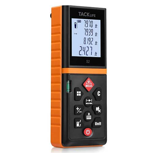 Best Laser Tape Measure 5. Tacklife Advanced Laser Measure 196 Ft Digital Laser Tape Measure with Mute Function, Orange