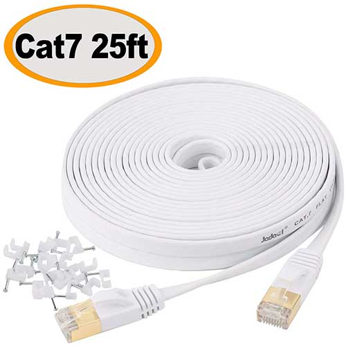 2. Cat 7 Ethernet Cable 25 ft Shielded - Solid Flat Internet Network Computer patch cord –with Rj45 Connectors for Router, Modem– White