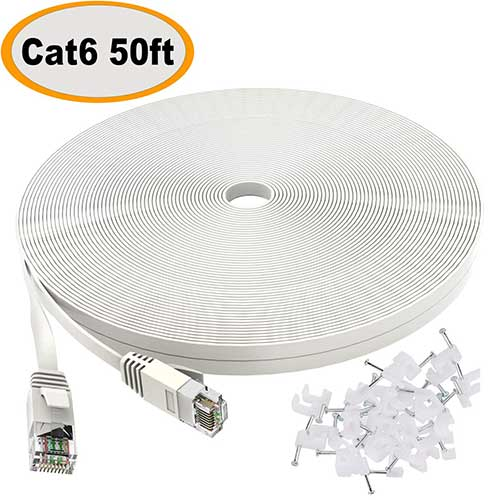 Best Ethernet Cables for Streaming 1. Cat 6 Ethernet Cable 50 ft White - Flat Internet Network Lan patch cords – Solid Cat6 High Speed Computer wire With clips& Snagless Rj45 Connectors for Router, modem – faster than Cat5e/Cat5 - 50 feet