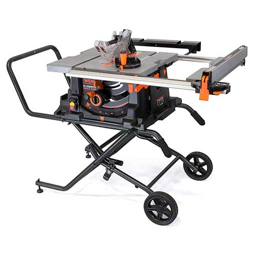 Best Table Saws for Woodworking 4. WEN 3720 15A Jobsite Table Saw with Rolling Stand, 10