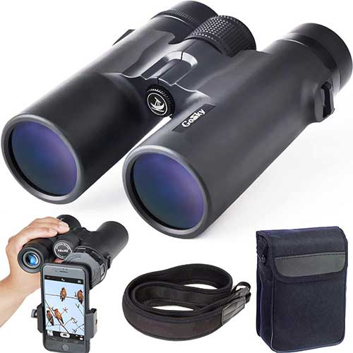 Best Compact Binoculars for Birding 3. Gosky 10x42 Roof Prism Binoculars for Adults, HD Professional Binoculars for Bird Watching Travel Stargazing Hunting Concerts Sports-BAK4 Prism FMC Lens-with Phone Mount Strap Carrying Bag