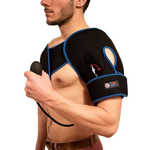 Best Ice Therapy Machines 5. Reusable Shoulder Ice Pack - Premium Cold Therapy Compression with Pump with Extra Long Strap- by The Pain Soother