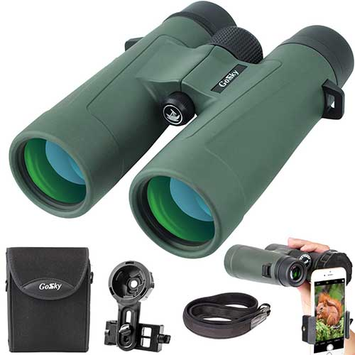Best Compact Binoculars for Birding 8. Gosky 10x42 Binoculars for Adults, Ultra HD Professional Binoculars for Bird Watching Travel Stargazing Hunting Concerts Sports-BAK4 Prism FMC Lens-with Phone Mount Strap Carrying Bag